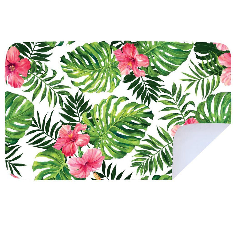 Bobums Botanical Microfibre Towels clothing & accessories Bobums pink hibiscus leaves XL - 160cm x 100cm