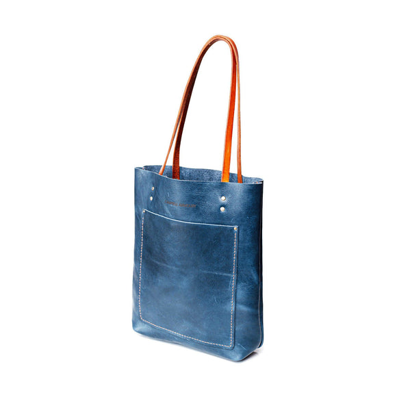 Campbell Armoury Leather Long Shopper Handbag clothing & accessories Campbell Armoury navy