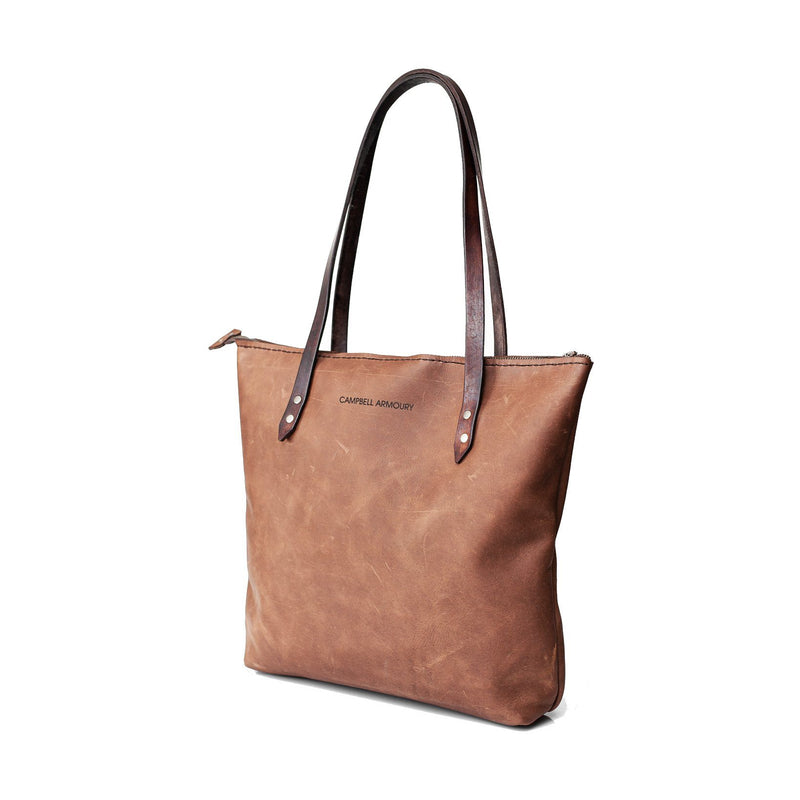 Campbell Armoury Leather Soft Zip Tote Bag clothing & accessories Campbell Armoury brown