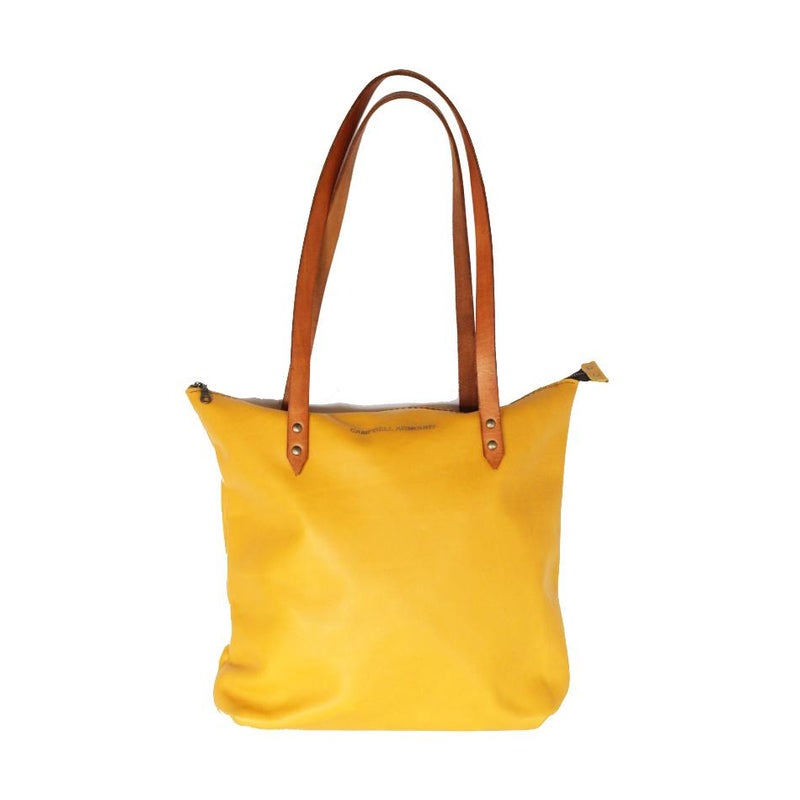 Campbell Armoury Leather Soft Zip Tote Bag clothing & accessories Campbell Armoury mustard