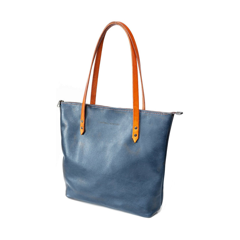 Campbell Armoury Leather Soft Zip Tote Bag clothing & accessories Campbell Armoury navy