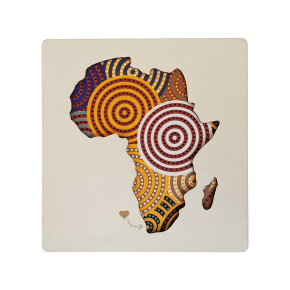 Cape Lasercut Africa Map Multicolour Shweshwe Fabric Wall Decor home & decor Cape Lasercut