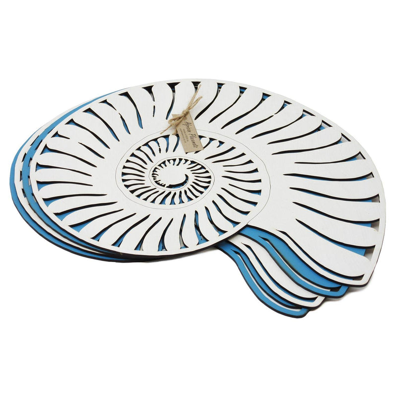 Cape Lasercut Blue & Cream Seashells Placemat Set home & decor Cape Lasercut