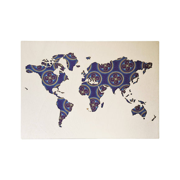 Cape Lasercut Medium World Map Purple Shweshwe Fabric Wall Decor home & decor Cape Lasercut