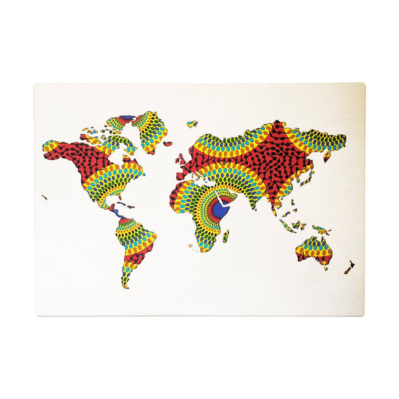 Cape Lasercut World Map Red-Green Fabric Wall Decor home & decor Cape Lasercut