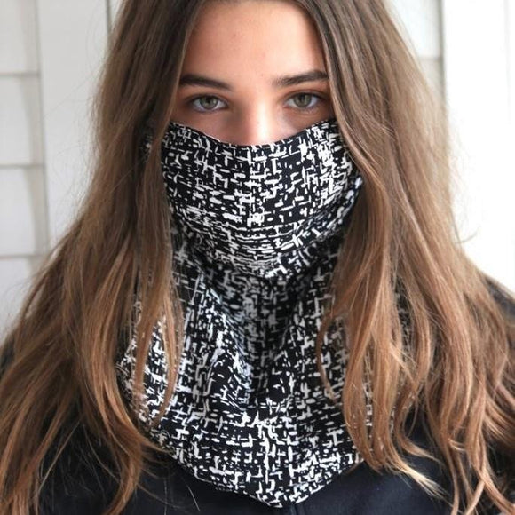 Charmz Black & White Snood Face Mask clothing & accessories Charmz