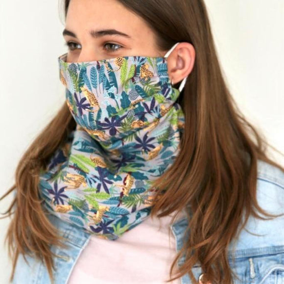 Charmz Blue Cheetah & Forest Snood Face Mask clothing & accessories Charmz