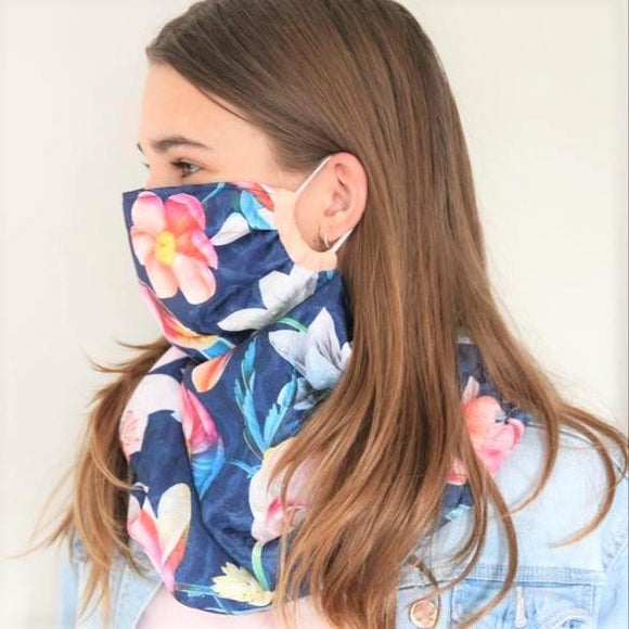 Charmz Blue Flower Snood Face Mask clothing & accessories Charmz