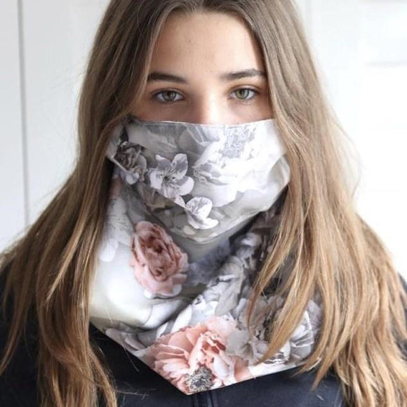 Charmz Grey Floral Snood Face Mask clothing & accessories Charmz
