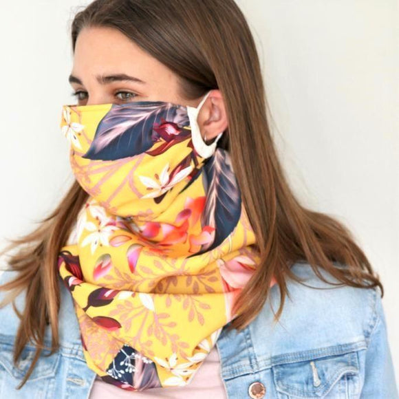 Charmz Mustard Flower Snood Face Mask clothing & accessories Charmz