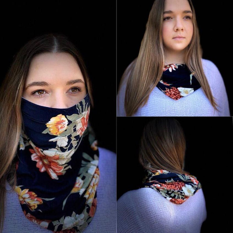 Charmz Navy & Floral Snood Face Mask clothing & accessories Charmz