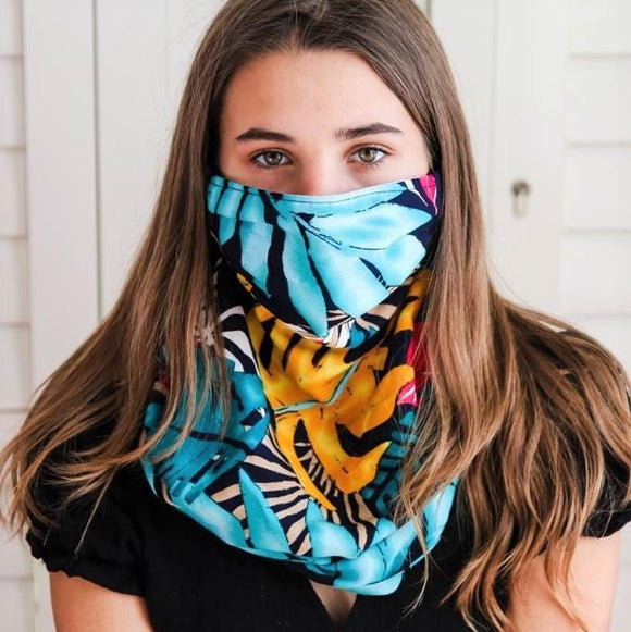 Charmz Navy Tropical Snood Face Mask clothing & accessories Charmz