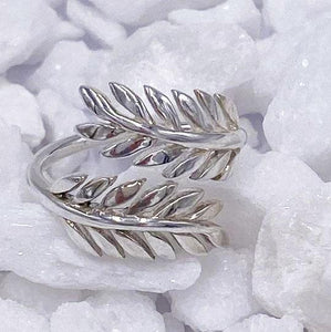 Charmz Sterling Silver Adjustable Fern Ring clothing & accessories Charmz