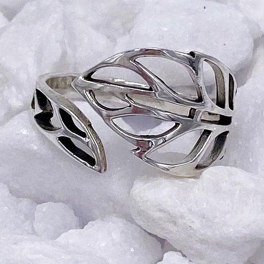 Charmz Sterling Silver Adjustable Leaf Ring clothing & accessories Charmz