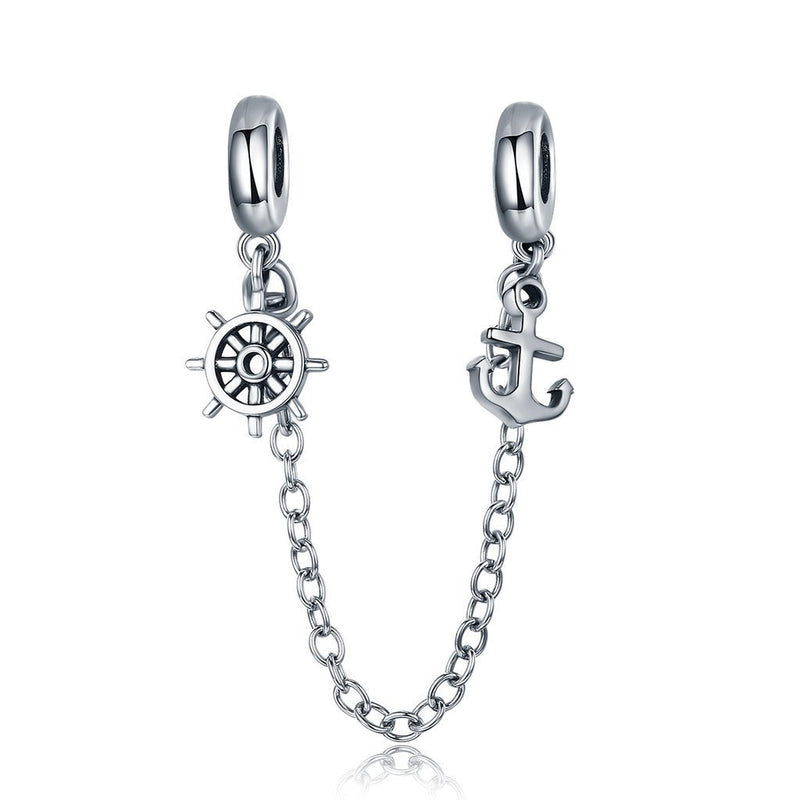 Charmz Sterling Silver Anchor & Rudder Safety Chain clothing & accessories Charmz