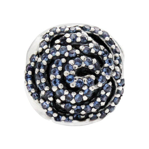 Charmz Sterling Silver Blue Rose Charm Clip & Stopper clothing & accessories Charmz