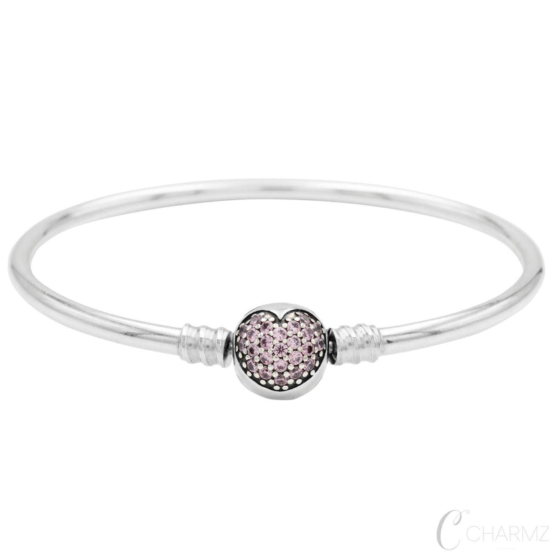 Charmz Sterling Silver Cubic Heart Bangle clothing & accessories Charmz