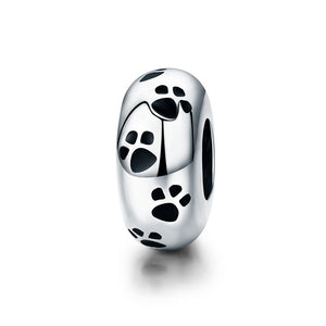 Charmz Sterling Silver Paw Print Charm Spacer clothing & accessories Charmz