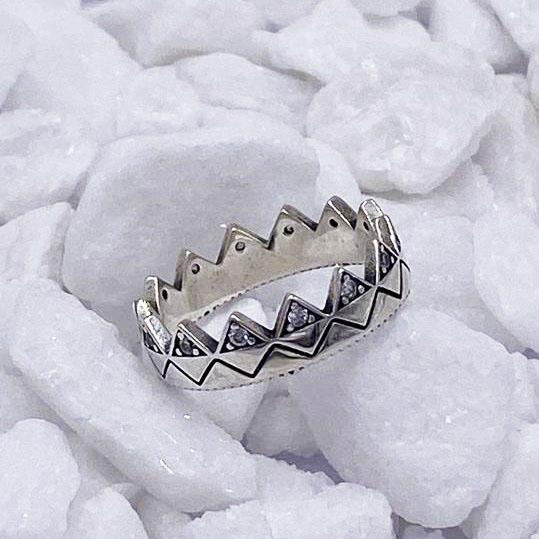 Charmz Sterling Silver Princess Crown Ring clothing & accessories Charmz