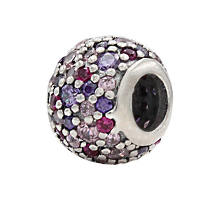 Charmz Sterling Silver Purple & Pink Crystal Ball Charm clothing & accessories Charmz