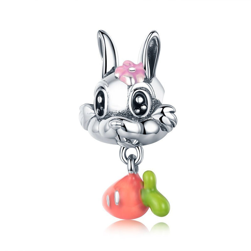 Charmz Sterling Silver Rabbit & Carrot Dangle Charm clothing & accessories Charmz