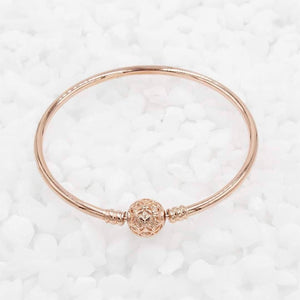 Charmz Sterling Silver Rose Gold Bangle clothing & accessories Charmz