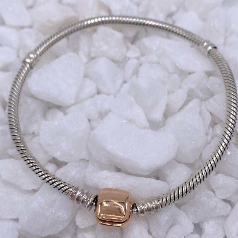 Charmz Sterling Silver & Rose Gold Clasp Snake Chain Charm Bracelet clothing & accessories Charmz