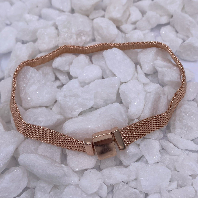 Charmz Sterling Silver & Rose Gold Mesh Charm Bracelet clothing & accessories Charmz