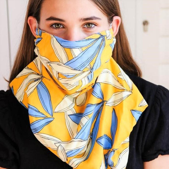 Charmz Yellow & Blue Leaves Snood Face Mask clothing & accessories Charmz
