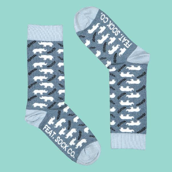 FEAT Sock Co. Ladies' Denim Rhino Socks clothing & accessories FEAT Sock Co.