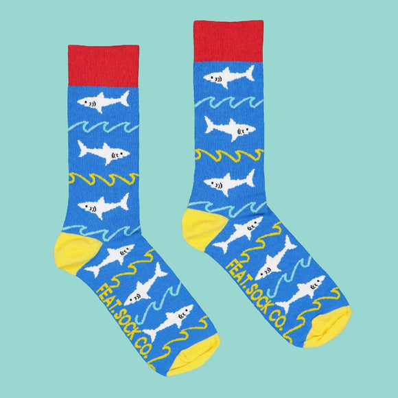 FEAT Sock Co. Men's Sharks & Waves Socks clothing & accessories FEAT Sock Co.