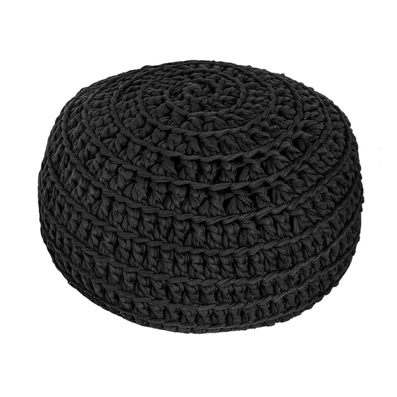 H18 Black Cotton Crochet Ottoman home & decor H18 Foundation