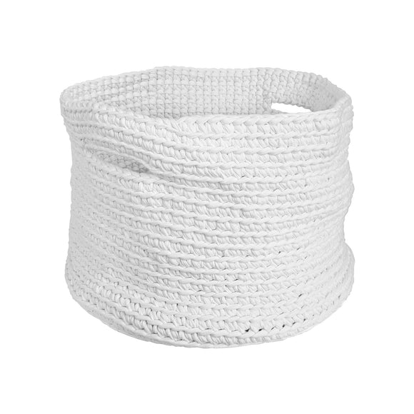 H18 Cotton White Crochet Basket home & decor H18 Foundation