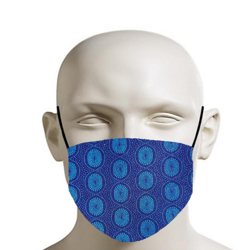 H18 Fabric Two Layer Face Masks clothing & accessories H18 Foundation G - blue & purple shweshwe pattern