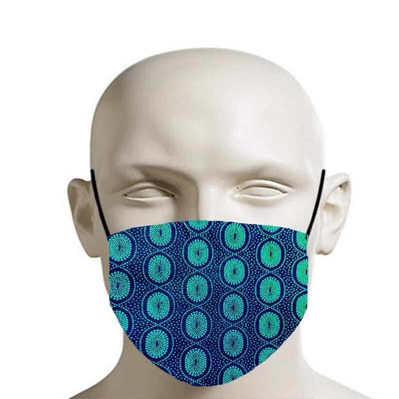 H18 Fabric Two Layer Face Masks clothing & accessories H18 Foundation H - blue & green shweshwe pattern
