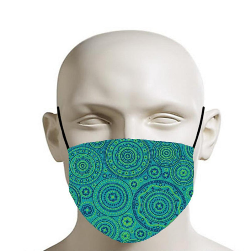 H18 Fabric Two Layer Face Masks clothing & accessories H18 Foundation I - green & blue shweshwe circle pattern