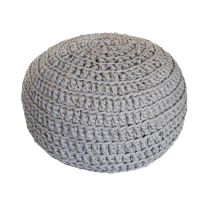 H18 Light Grey Cotton Crochet Ottoman home & decor H18 Foundation