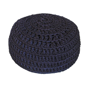 H18 Navy Cotton Crochet Ottoman home & decor H18 Foundation