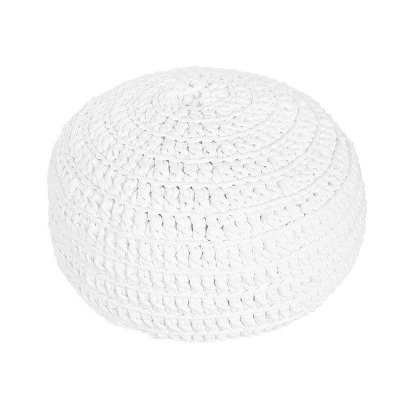 H18 White Cotton Crochet Ottoman home & decor H18 Foundation