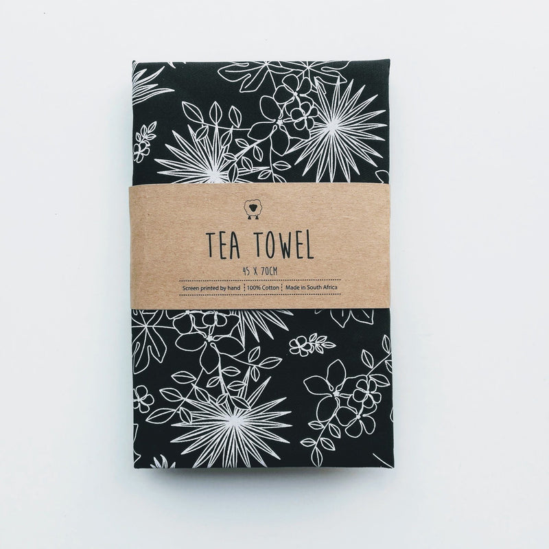 Hartlam Textiles Black Tropical Cotton Tea Towel home & decor Hartlam Textiles & Prints
