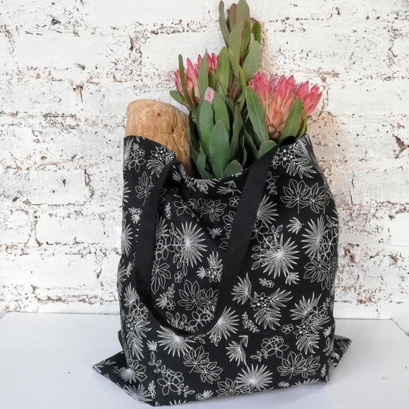 Hartlam Textiles Black Tropical Foldable Shopper Bag home & decor Hartlam Textiles & Prints