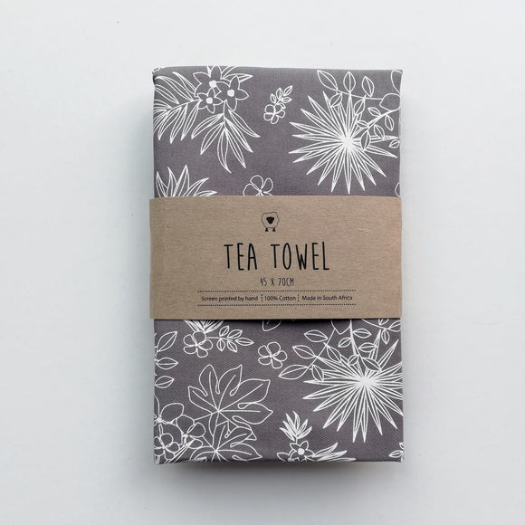 Hartlam Textiles Grey Tropical Cotton Tea Towel home & decor Hartlam Textiles & Prints