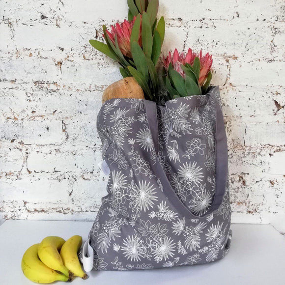 Hartlam Textiles Grey Tropical Foldable Shopper Bag home & decor Hartlam Textiles & Prints