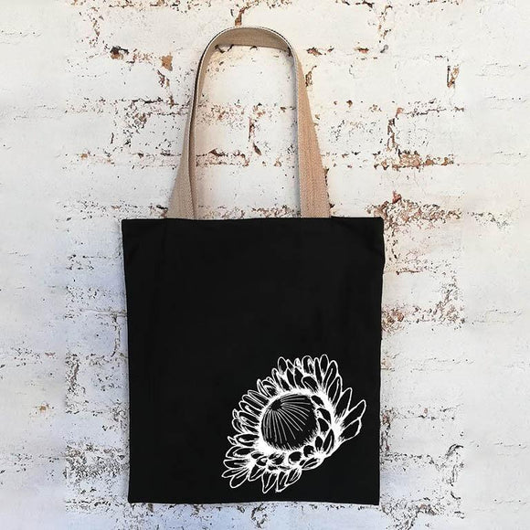 Hartlam Textiles Protea Shopper Bag home & decor Hartlam Textiles & Prints black