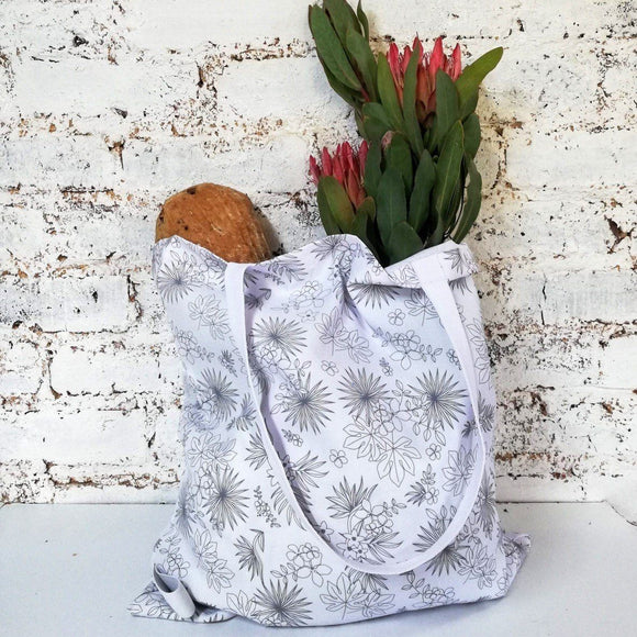 Hartlam Textiles White Tropical Foldable Shopper Bag home & decor Hartlam Textiles & Prints