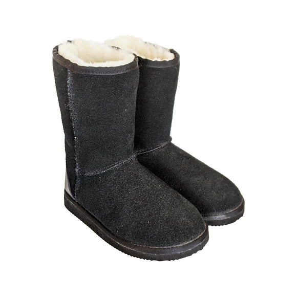Karu Oskie Black Suede & Wool Slipper Boots clothing & accessories Karu Slippers