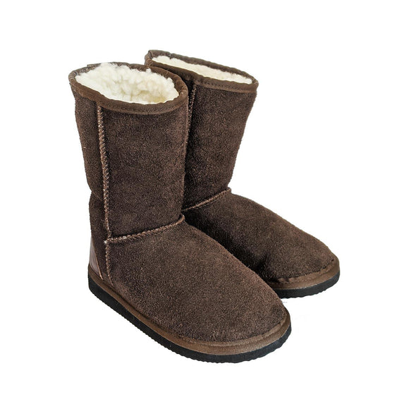 Karu Oskie Chocolate Suede & Wool Slipper Boots clothing & accessories Karu Slippers