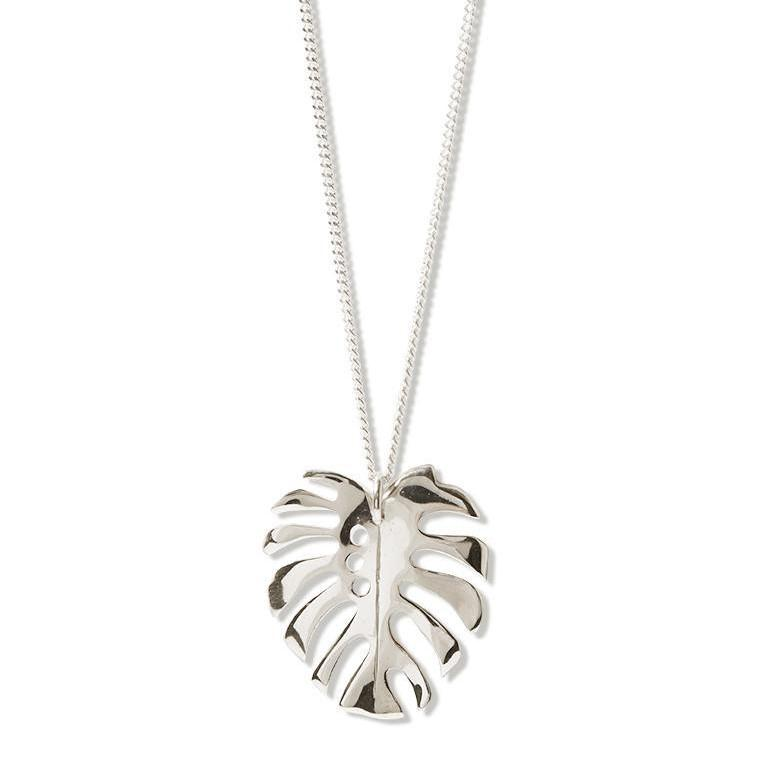 Katmeleon Monstera Deliciosa III Pendant Necklace clothing & accessories Katmeleon Jewellery silver