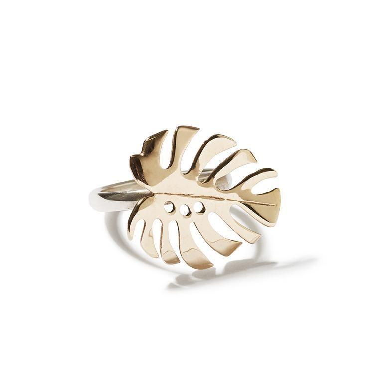 Katmeleon Monstera Deliciosa Ring clothing & accessories Katmeleon Jewellery bronze extra small (G-I1/2)