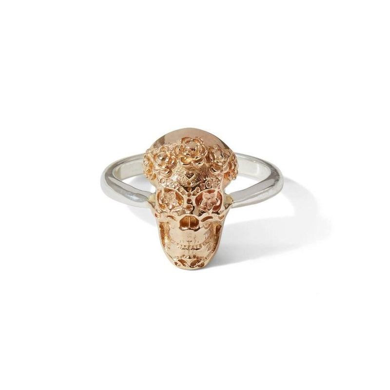 Katmeleon Sugar Skull Sterling Silver Ring clothing & accessories Katmeleon Jewellery extra small (G-1/2) bronze & silver